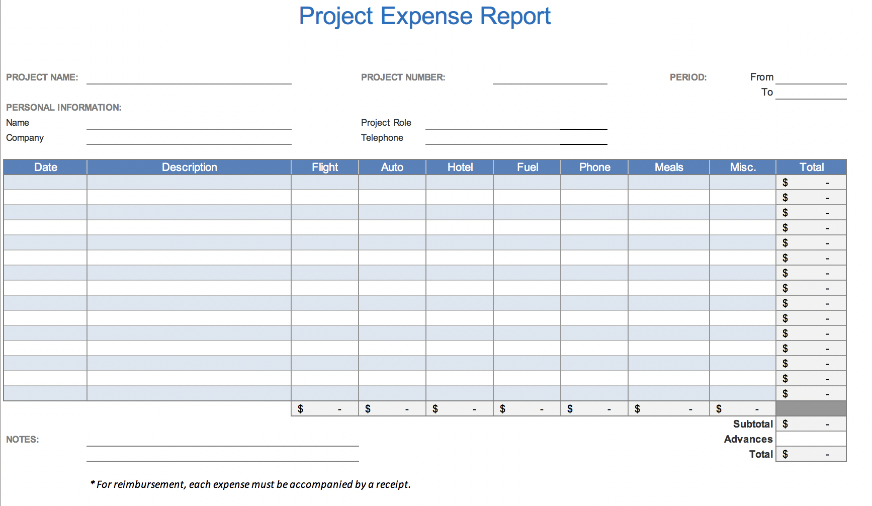 The 7 Best Expense Report Templates For Microsoft Excel Throughout Job Cost Report Template Excel