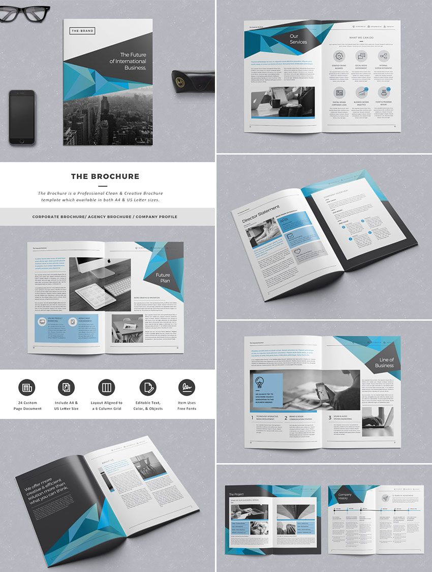 The Brochure - Indd Print Template | Template | Indesign With Indesign Templates Free Download Brochure