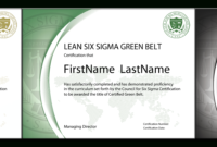 The Council For Six Sigma Certification – Official Industry in Green Belt Certificate Template