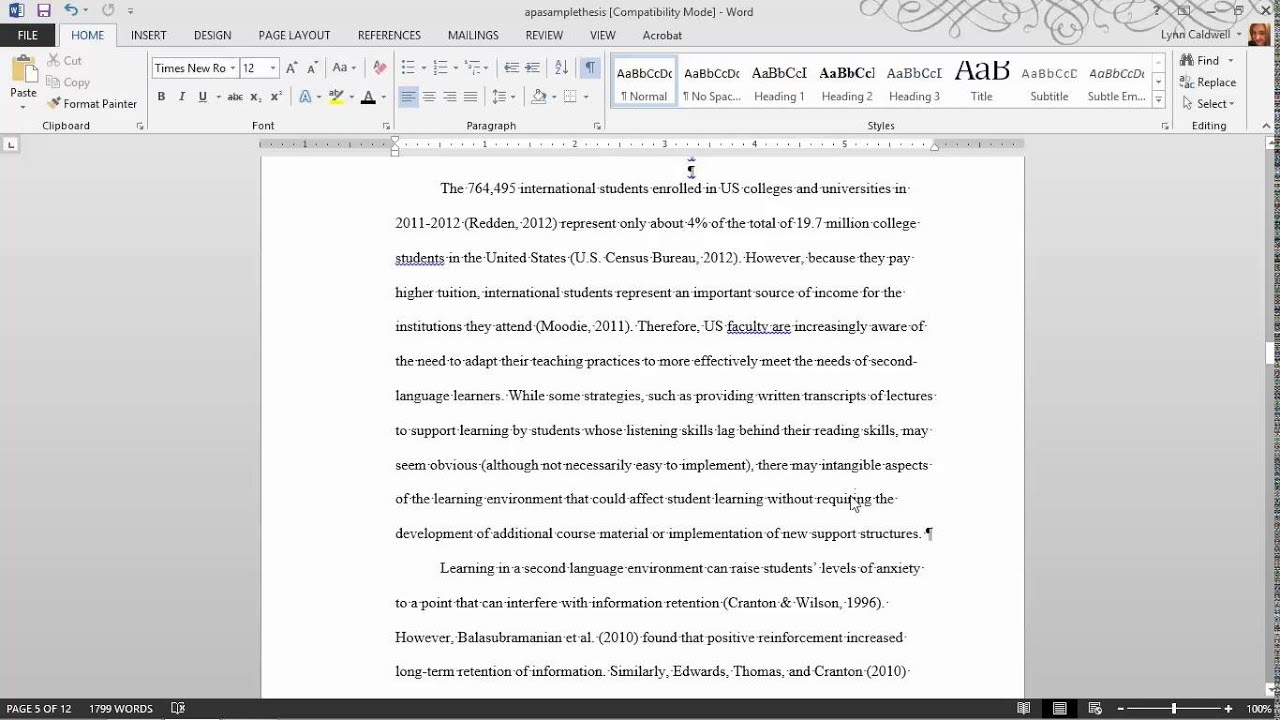 Thesis Formatting: Ms Word Tips Pertaining To Ms Word Thesis Template