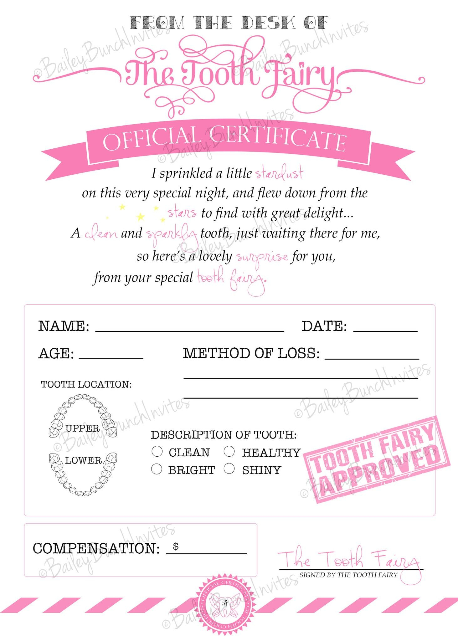 Tooth Fairy Certificate - Pink - Instant Download With Tooth Fairy Certificate Template Free