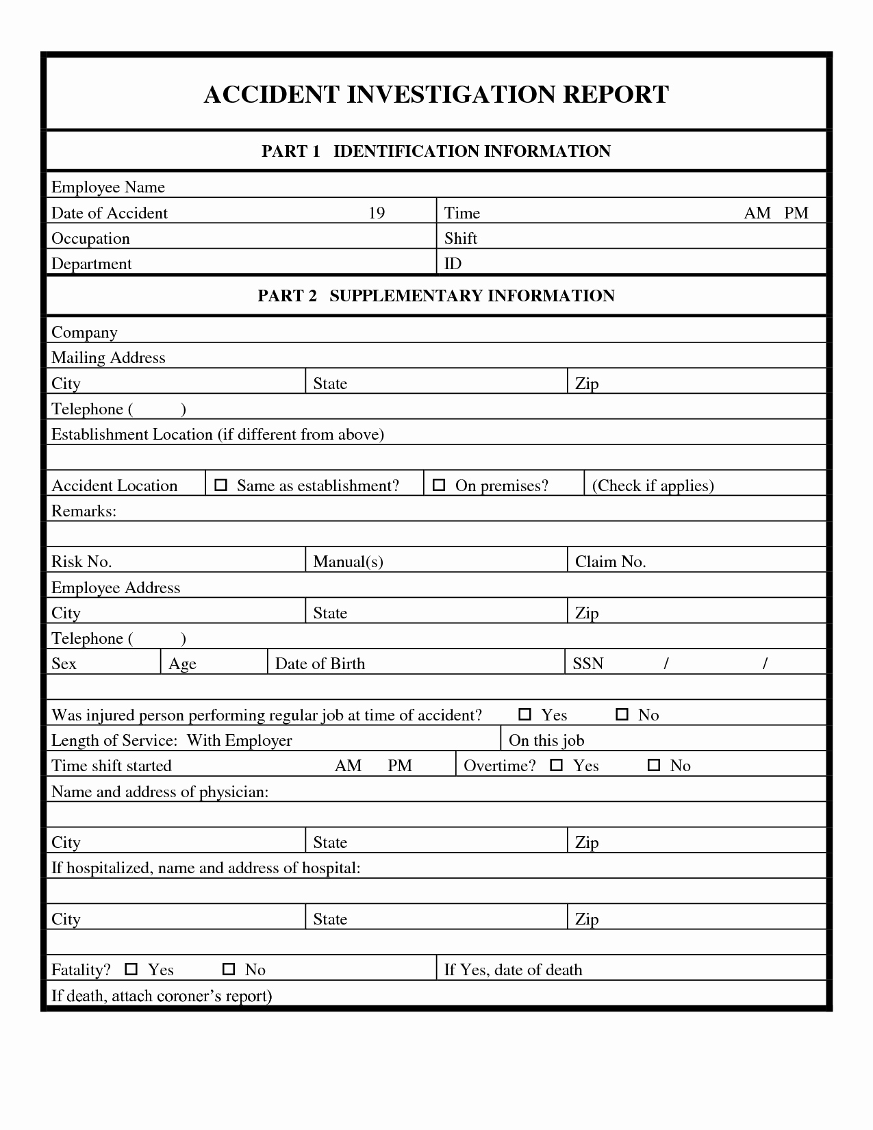 Traffic Ident Investigation Report Format Form Hse Incident With Health And Safety Incident Report Form Template