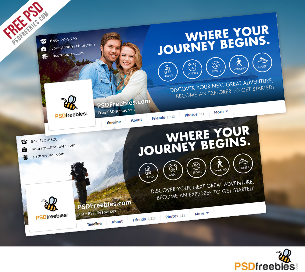 Travel Facebook Timeline Covers Free Psd Templates Within Facebook Banner Template Psd