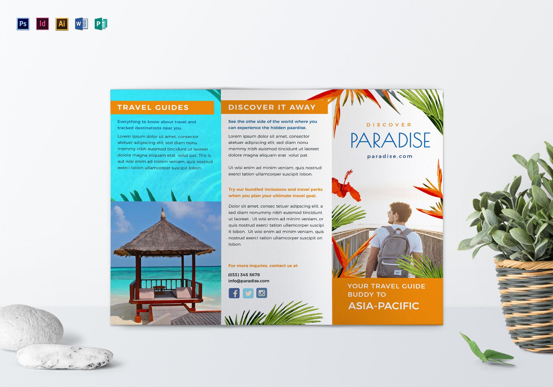 Travel Tri Fold Brochure Template Inside Word Travel Brochure Template