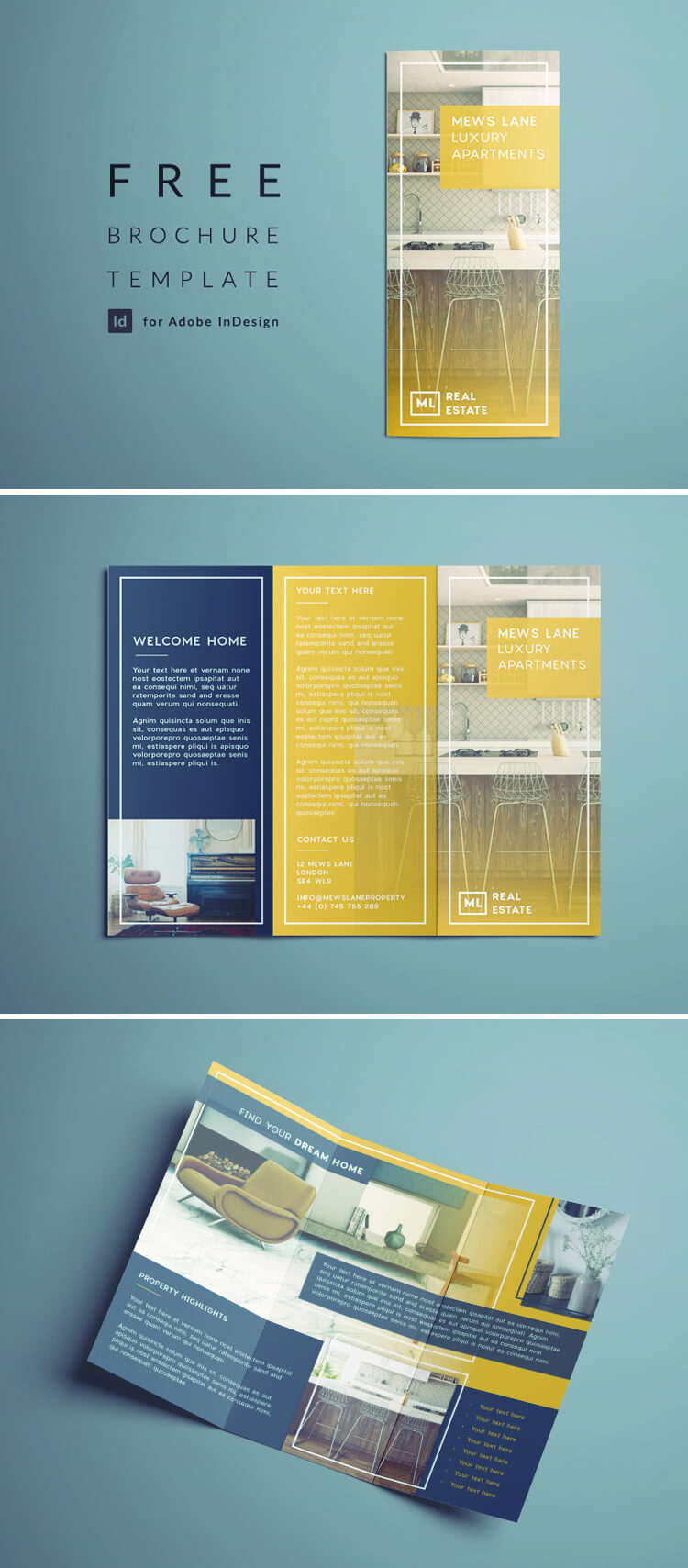 Tri Fold Brochure | Free Indesign Template With Regard To Z Fold Brochure Template Indesign