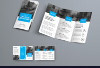 Tri-Fold Brochure Template With Blue Rectangular with 3 Fold Brochure Template Free