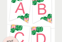 Tropical Printable Banner | Free Printables – Free Printable inside Free Letter Templates For Banners