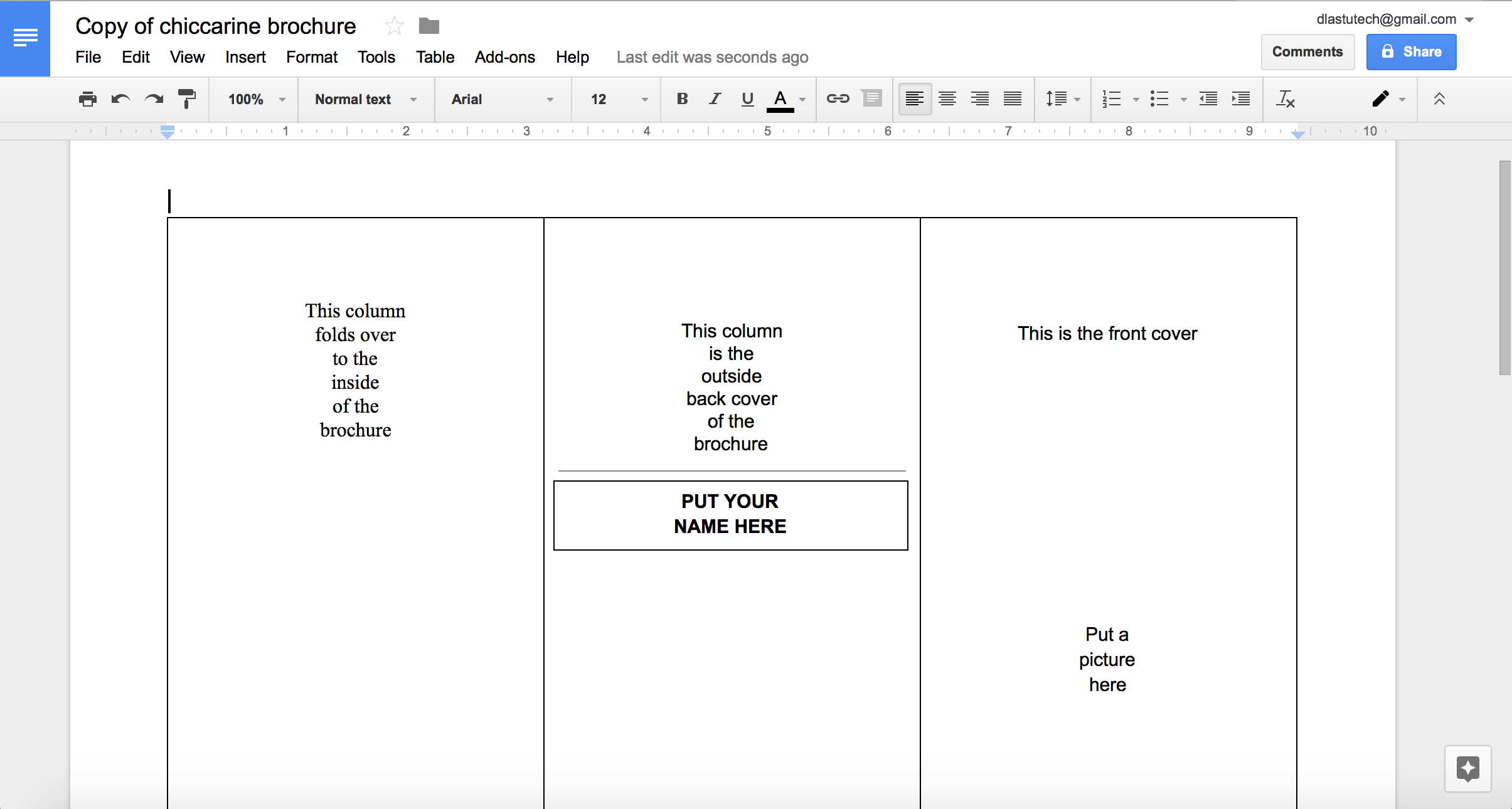 Tutorial: Making A Brochure Using Google Docs From A Regarding Brochure Template Google Drive