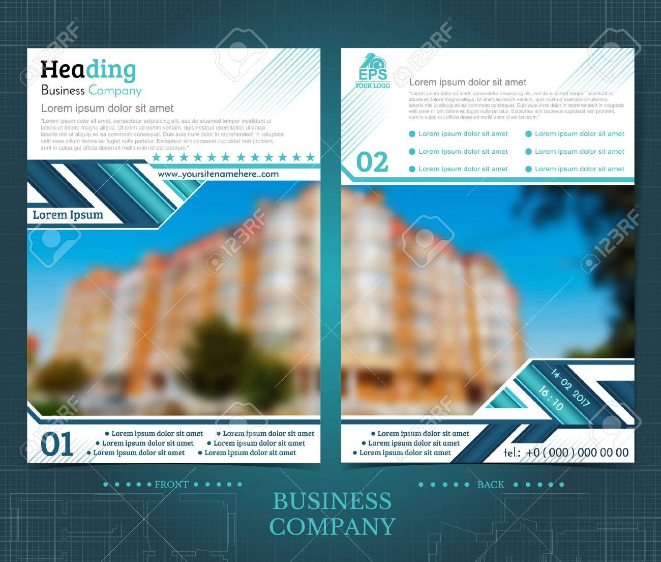 Two Sided Brochure Or Flayer Template Design With One Blurred.. Intended For One Sided Brochure Template