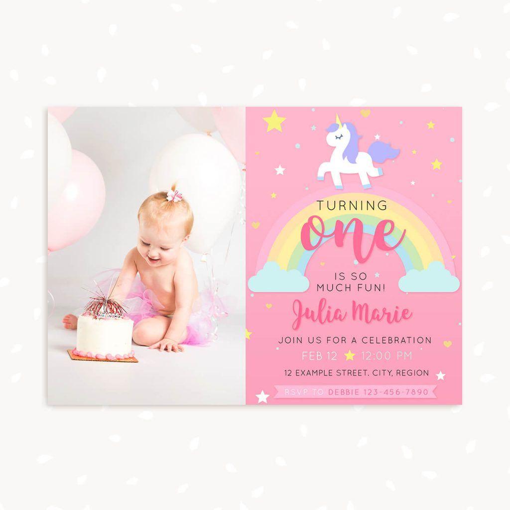 Unicorn First Birthday Invitation Template With Photo Pertaining To First Birthday Invitation Card Template
