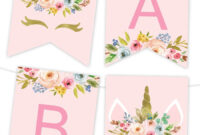 Unicorn Floral Printable Banner | Birthday Banner Template in Free Happy Birthday Banner Templates Download