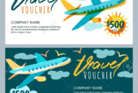Vector Gift Travel Voucher Template. Multicolor Flying with Free Travel Gift Certificate Template