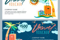 Vector Gift Travel Voucher Template. Tropical Island Landscape.. in Free Travel Gift Certificate Template