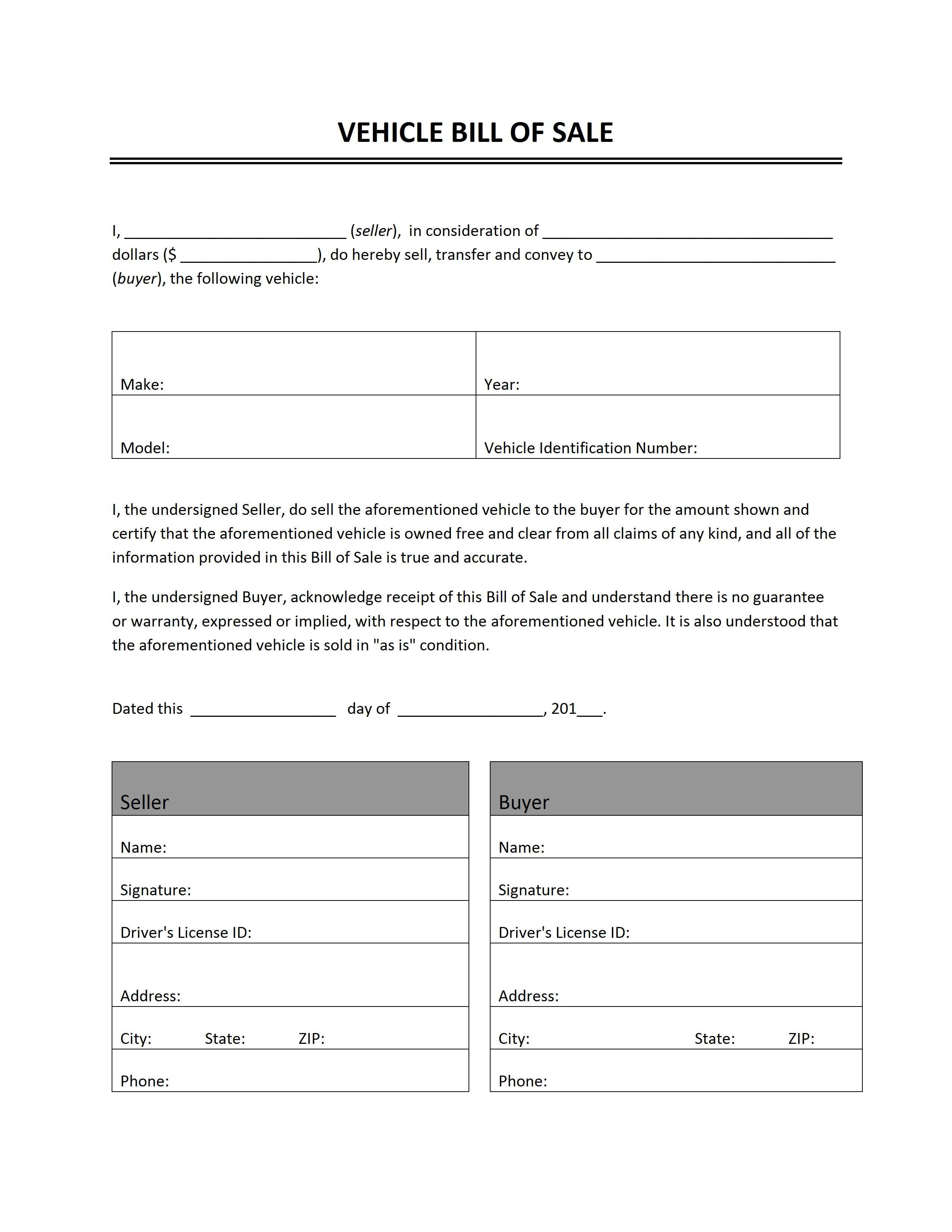 Vehicle Bill Of Sale | Word Templates | Free Word Templates With Car Bill Of Sale Word Template
