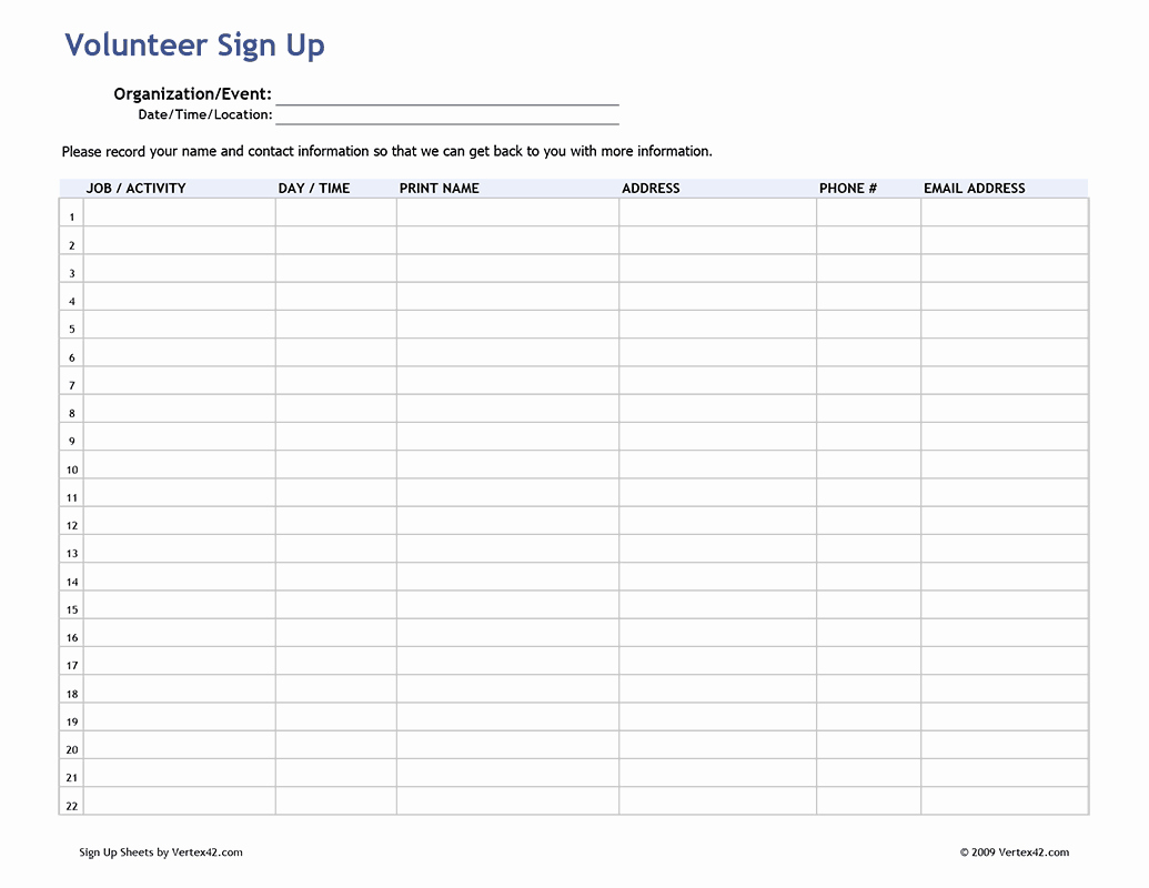 Volunteer Sign In Sheet New Meeting Attendance List Template Within Free Sign Up Sheet Template Word