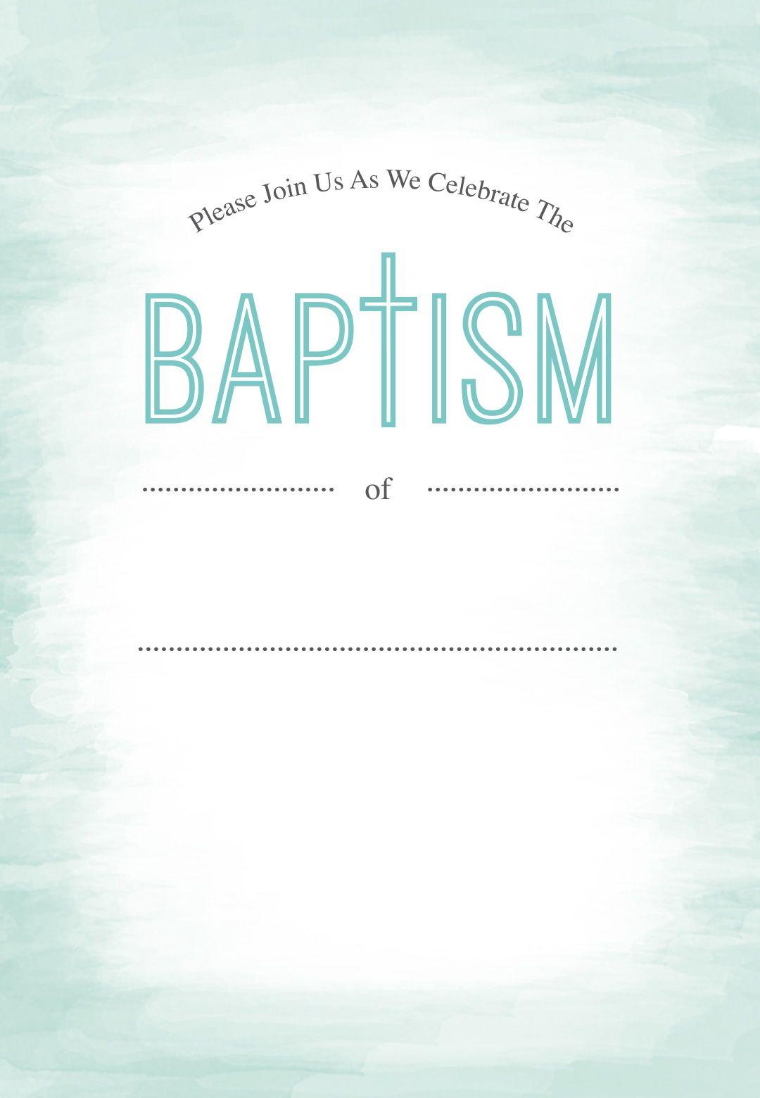 Water - Free Printable Baptism & Christening Invitation With Blank Christening Invitation Templates