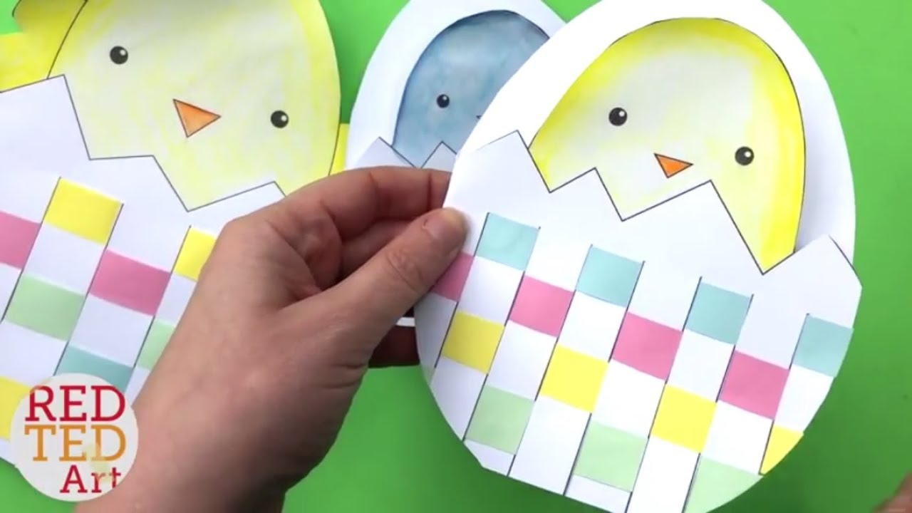 Weaving Chick Cards With Template - Easy Easter Card Diy Ideas For Easter Chick Card Template
