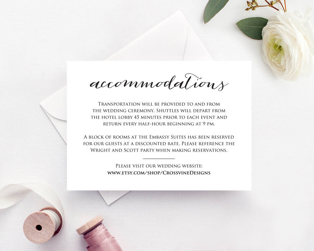 Wedding Accommodations Card Insert Throughout Wedding Hotel Information Card Template