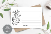 Wedding Advice Card Template For Bride And Groom, Instant intended for Marriage Advice Cards Templates