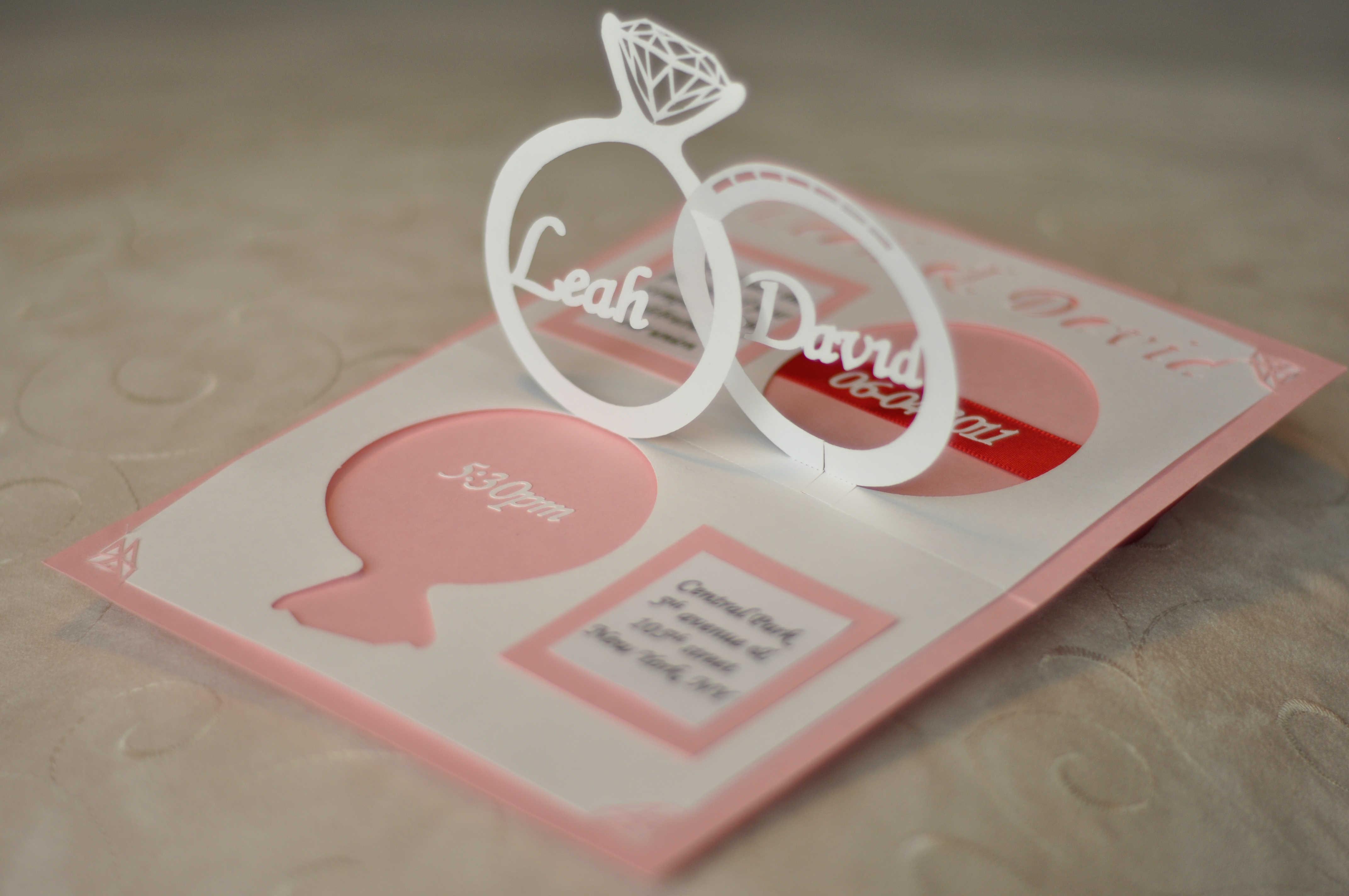 Wedding Invitation Linked Rings Pop Up Card Template Throughout Wedding Pop Up Card Template Free