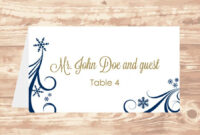 Wedding Place Card Diy Template Navy Swirling Snowflakes regarding Ms Word Place Card Template