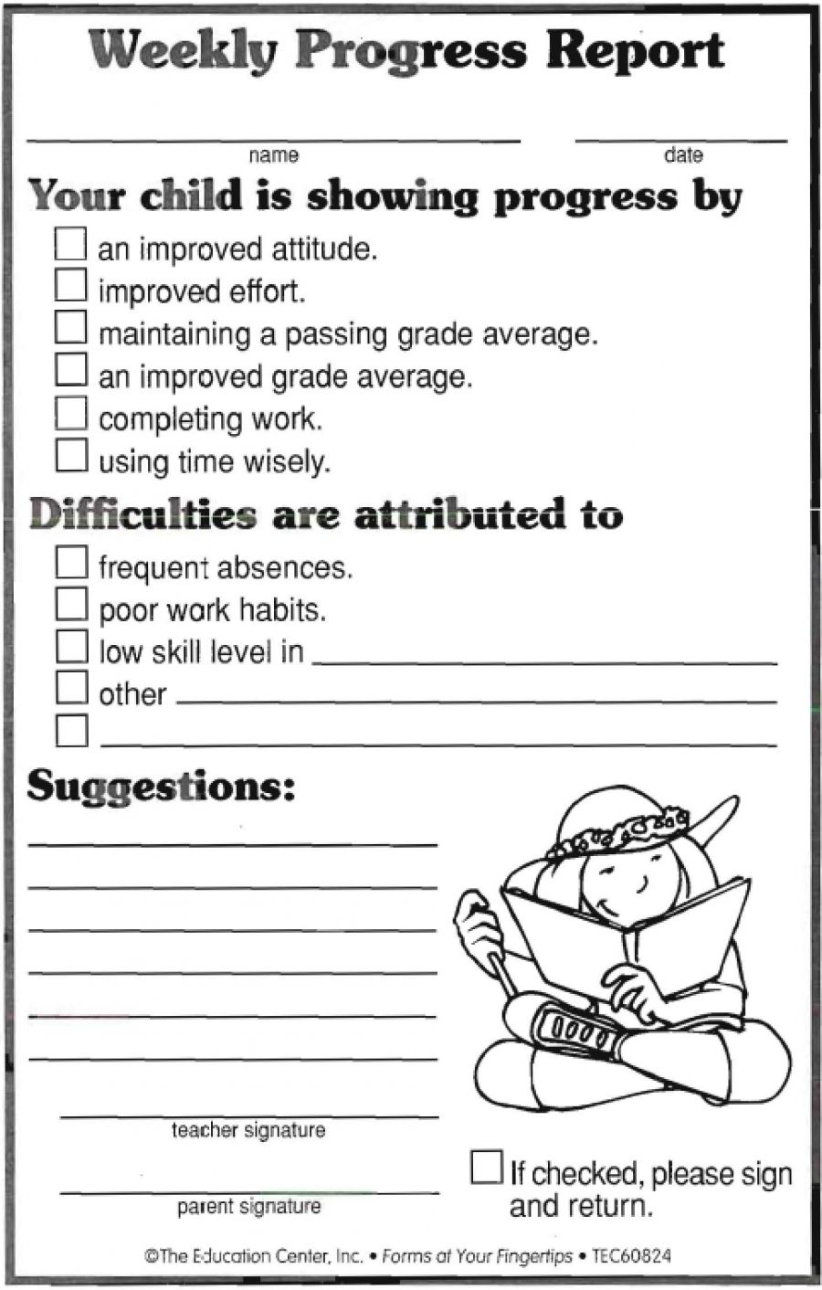 Weekly Progress Report | Ideas | Progress Report, Progress Throughout Daily Behavior Report Template