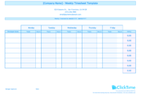 Weekly Timesheet Template For Multiple Employees | Clicktime Inside Weekly Time Card Template Free