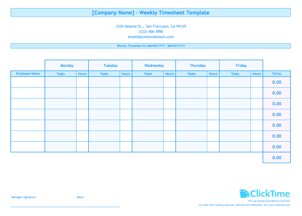 Weekly Timesheet Template For Multiple Employees   Clicktime Inside Weekly Time Card Template Free