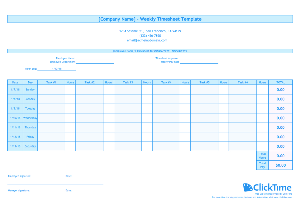 Weekly Timesheet Template | Free Excel Timesheets | Clicktime With Regard To Weekly Time Card Template Free