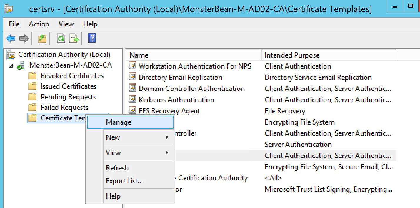 Windows 2012 R2 Nps With Eap Tls Authentication For Os X Within Workstation Authentication Certificate Template