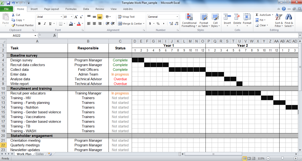 Work Plan Template | Tools4Dev For Work Plan Template Word