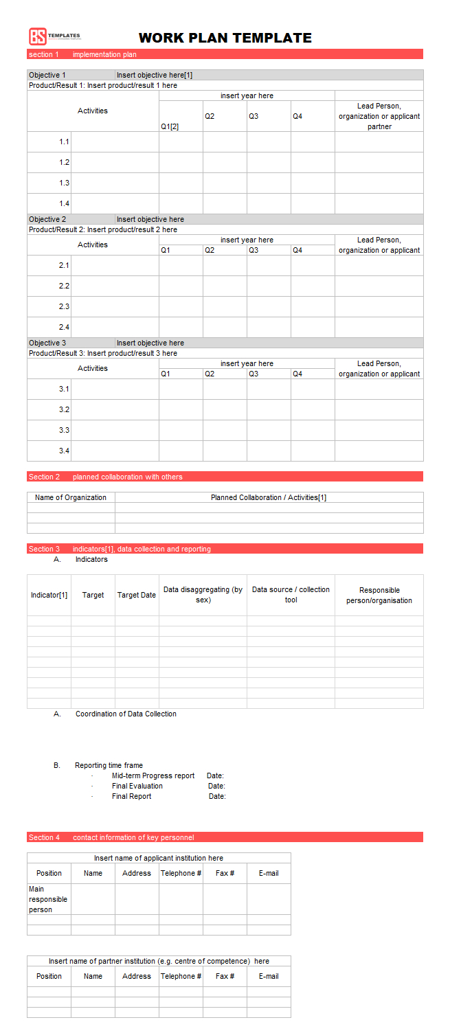 Work Plan [ Templates | Samples | Examples] – Word & Excel Within Work Plan Template Word