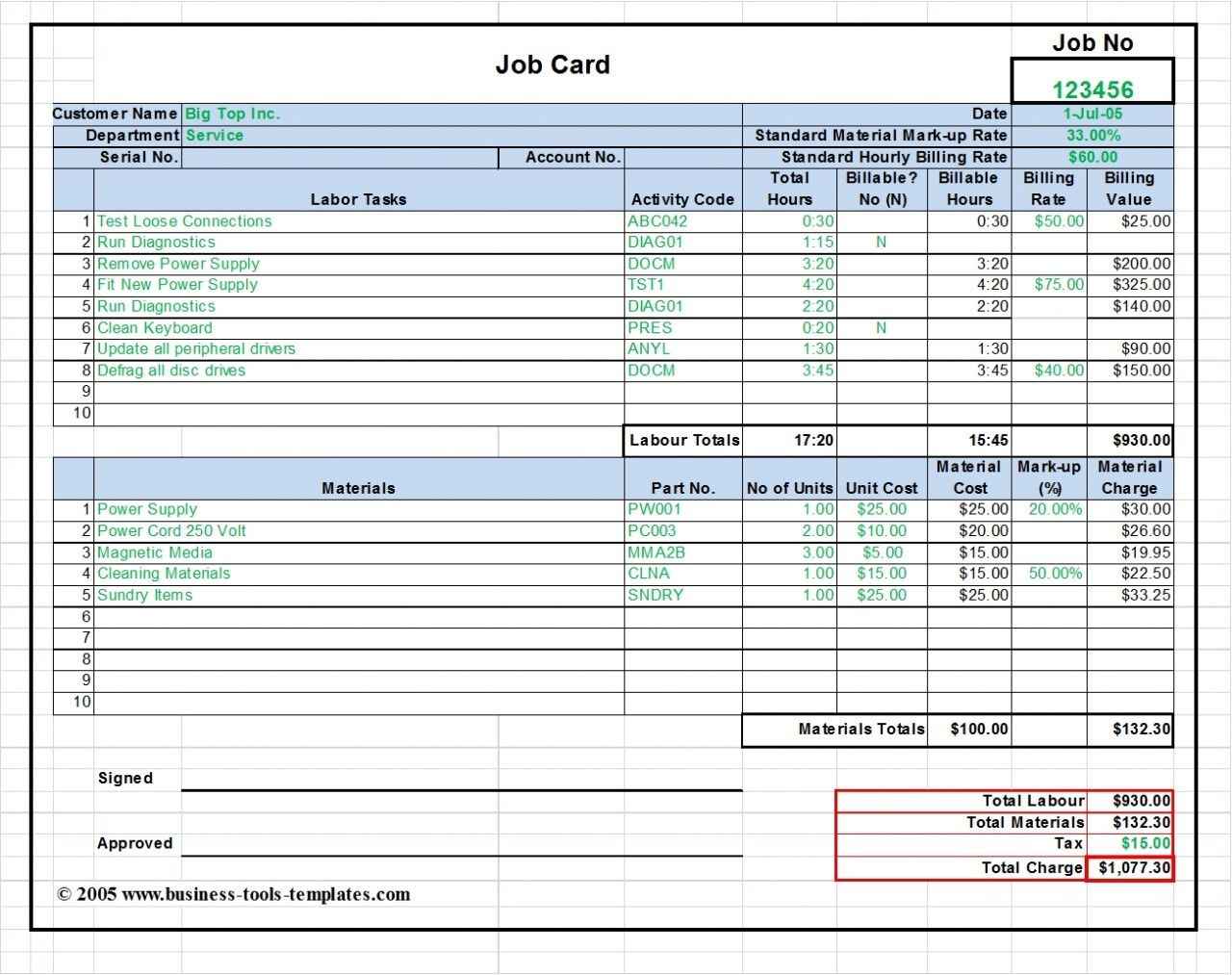 Workshop Job Card Template Excel, Labor & Material Cost Regarding Job Cost Report Template Excel