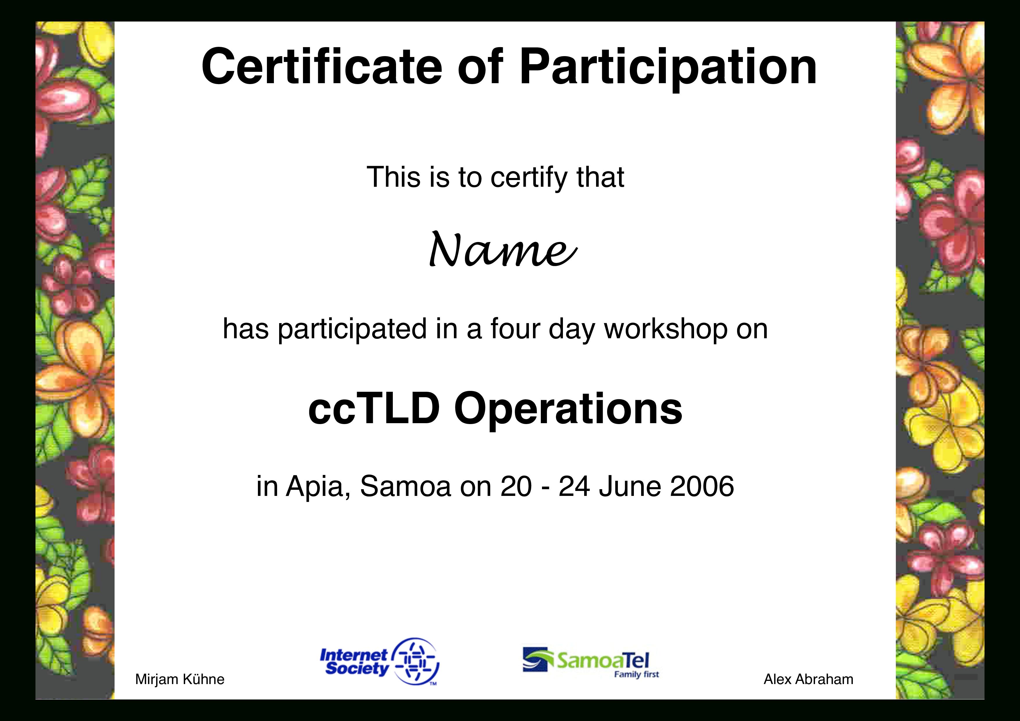 Workshop Participation Certificate   Templates At Throughout Certificate Of Participation In Workshop Template