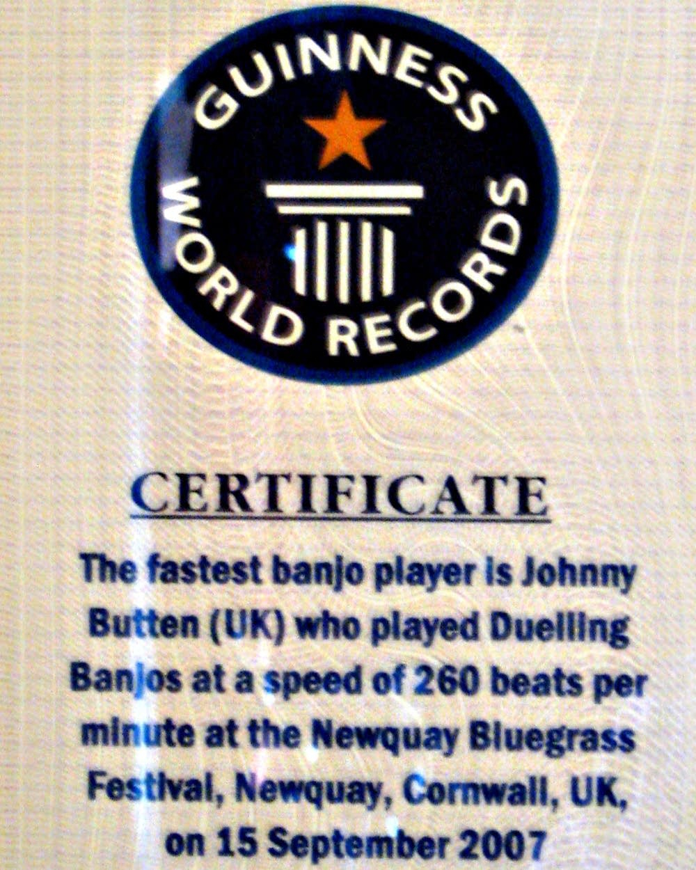 World's Fastest Banjo Picker Calls Minnesota Home | Mpr News With Regard To Guinness World Record Certificate Template