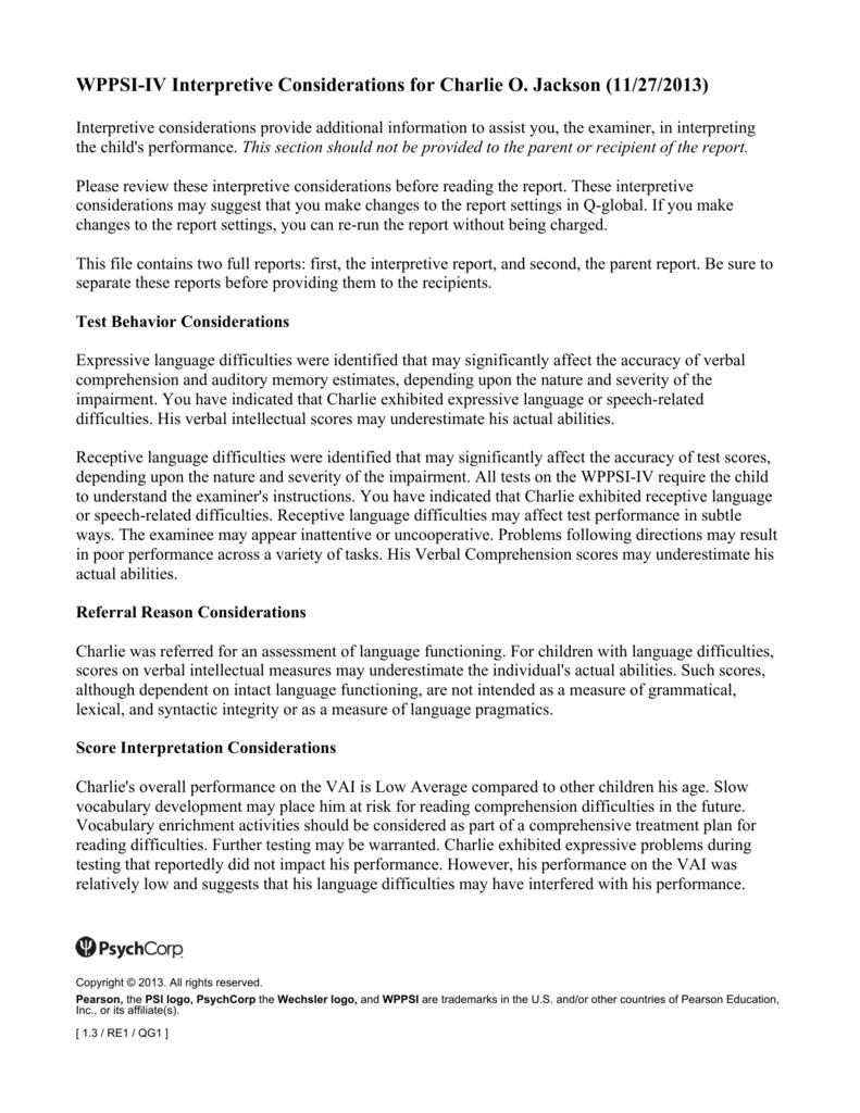 Wppsi Iv Interpretive Report Sample Pertaining To Wppsi Iv Report Template