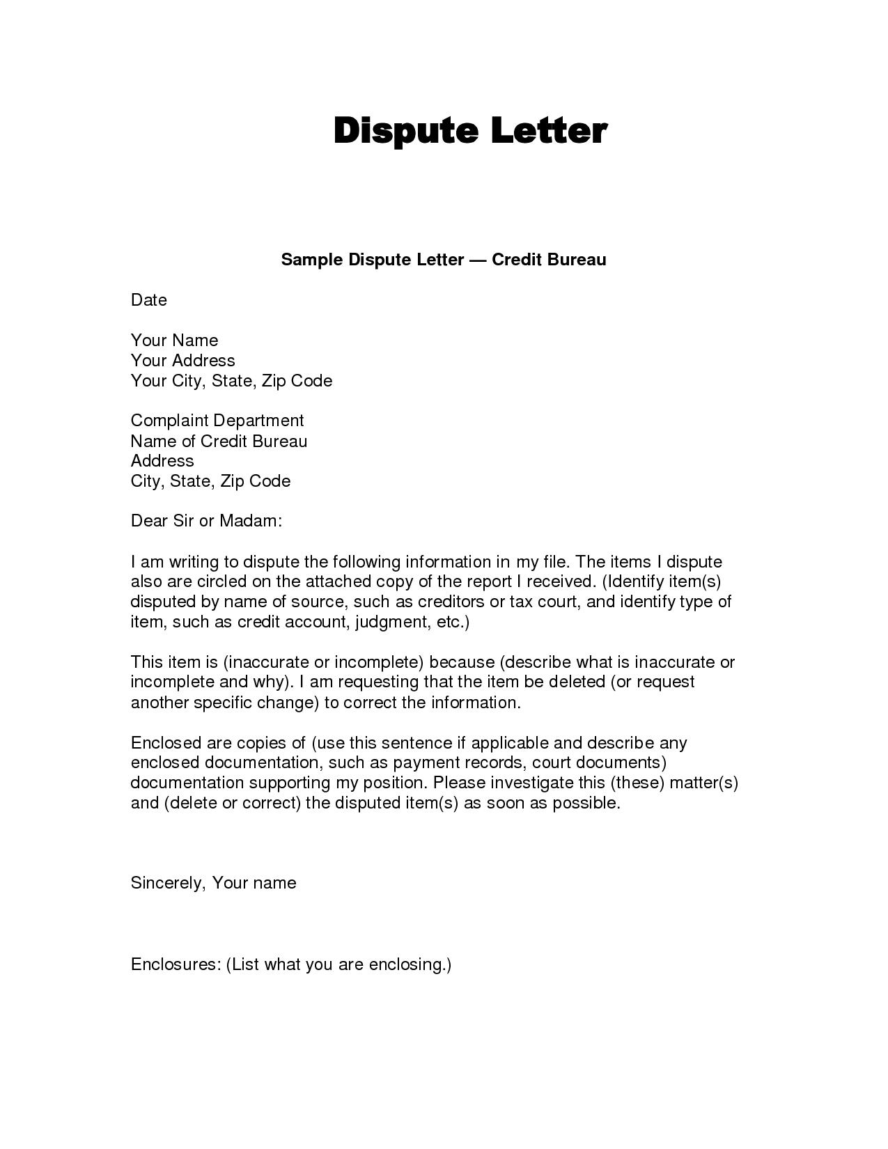Writing Dispute Letter Format   Credit Bureaus, Lettering With Credit Report Dispute Letter Template