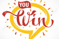 You Win , Vector Congratulation Banner Template With Lettering.. with regard to Congratulations Banner Template