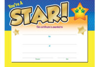 You're A Star! Award Gold Foil-Stamped Certificate inside Star Certificate Templates Free