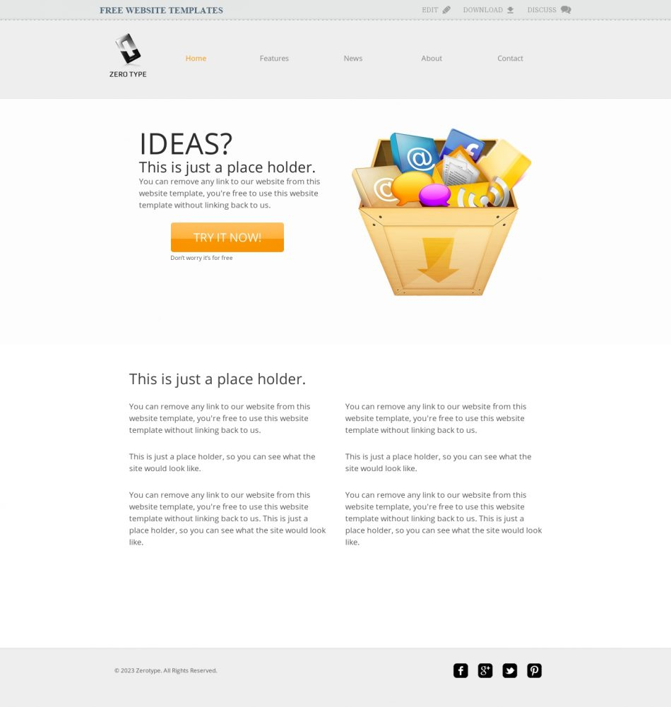 Zerotype A Blank Canvas Template - Web Template » All Free With Blank Food Web Template